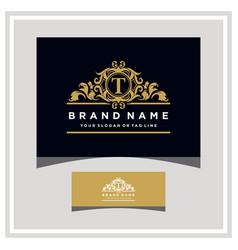 Letter t logo design concept royal luxury gold vector