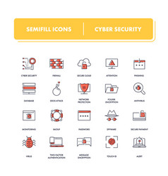 line icons set cyber security vector image