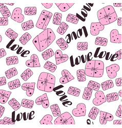 love seamless valentines day line pattern vector image