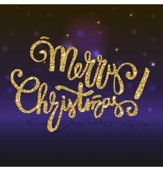 Merry Christmas golden shiny and glittering vector image