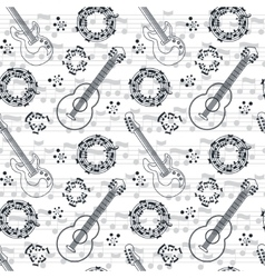 Music seamless pattern background vector image