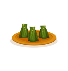 Nasi lemak wrapped with banana leaf traditional vector