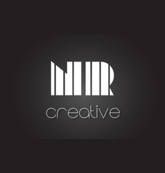 Nr n r letter logo design with white and black vector