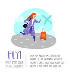 people traveling by plane woman in airport vector image