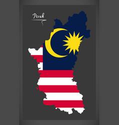 Perak malaysia map with malaysian national flag vector