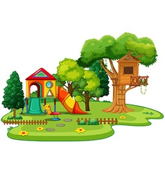 Playhouse and treehouse in the park vector image