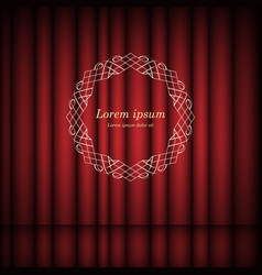red curtains and vintage round frame with space vector image