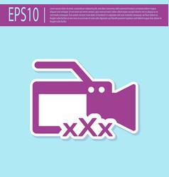 Retro purple video camera with inscription xxx vector