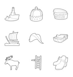 scandinavia icons set outline style vector image