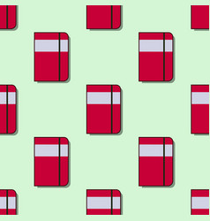 Seamless school pattern with red notebooks flat vector