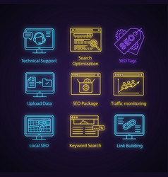 seo neon light icons set vector image