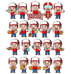 Set delivery man with different poses vector