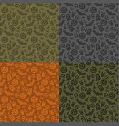 set halloween seamless patterns vector image