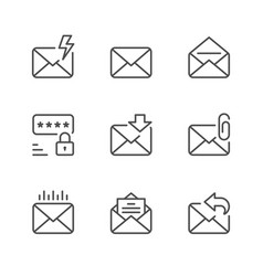set line icons mail vector image