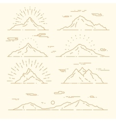 Set mountains linear style vector image