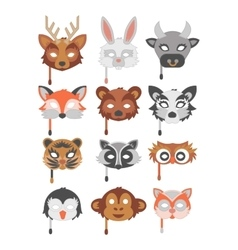 Set of cartoon animals party masks vector image