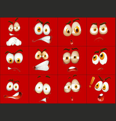 set of red face expression vector image