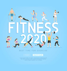 set young people doing workout sport fitness vector image