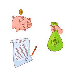 sketch business finance banking money set vector image