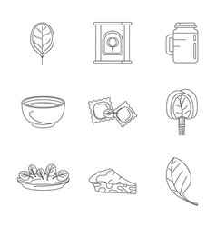 Spinach leaves vegetables icons set outline style vector