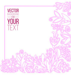 spring and summer template with doodle pink floral vector image