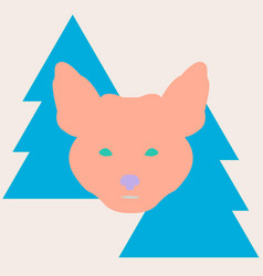 stylish fox head between christmas trees vector image