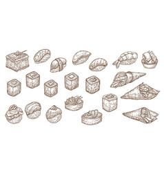 sushi sashimi or rolls sketch nigiri maki vector image
