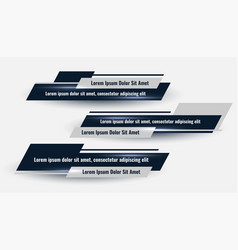 Three geometric lower third banners set design vector