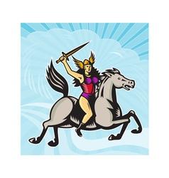 Valkyrie Amazon Warrior Riding Horse vector
