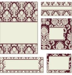 vector ornate damask frame set vector image