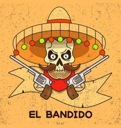wild west skull bandit with pistols vector image