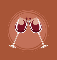 wine toast cups vector image