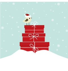 Winter card with bird vector image