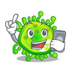 With phone character microbe bacterium on the palm vector