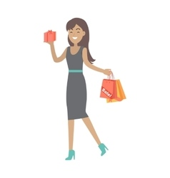 Woman Buys Presents at Discount Price vector image