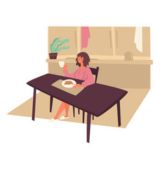 woman eating morning breakfast at kitchen and vector image