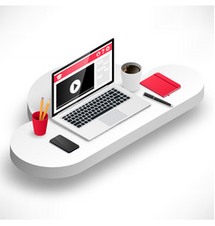 workplace for study on cloud white vector image