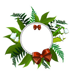 wreath of snowdrops and different green leaves vector image