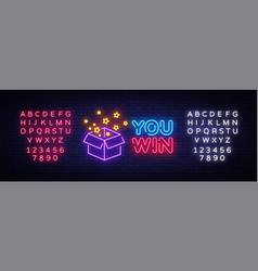 You win neon sign you win design template vector