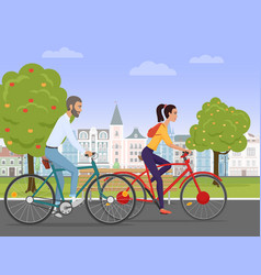 Young couple riding a sport bikes on a park road vector