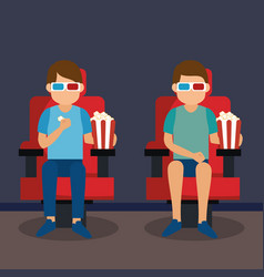 Young people with glasses 3d and cinema icons vector