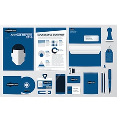 Corporate identity and stationary in blue theme vector image vector image