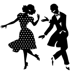 Dancing couple silhouette vector image vector image