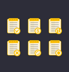 documents icons flat style vector image