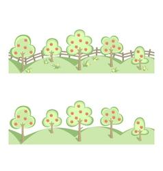 Fruit trees in horizontal seamless border vector image
