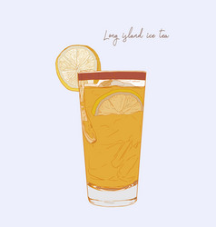 hand drawn of cocktail long island ice tea vector image