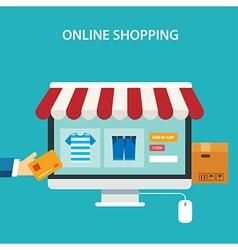 online shopping concept flat design vector image vector image