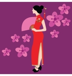 qipao chinese traditional dress costume clothes vector image vector image