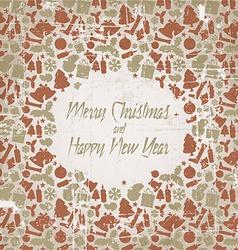 Retro christmas card with seasonal pattern vector image vector image