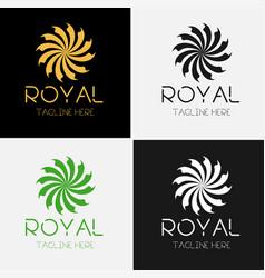 royal flower logo template set vector image